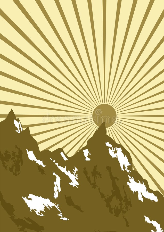 Gráfico Del Sol Sobre Las Montañas Imagen de archivo