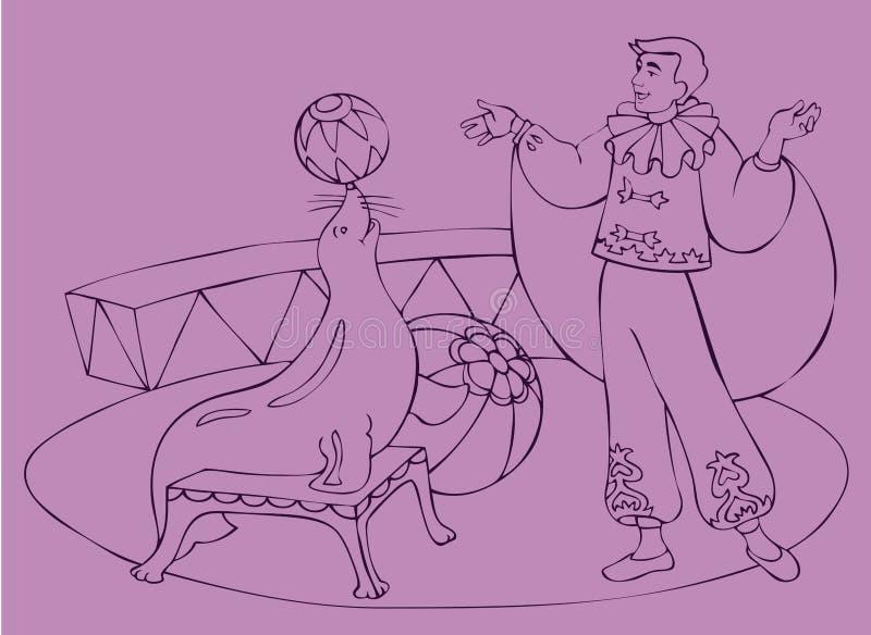 Gráfico del vector. Demostración del circo con el sello ilustración del vector