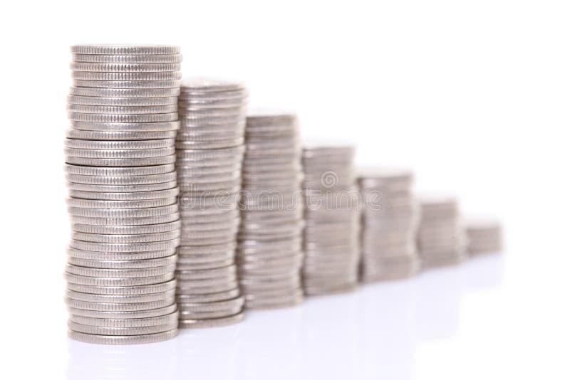 Gr?fico descender japon?s apilado de 100 monedas de los yenes imagenes de archivo