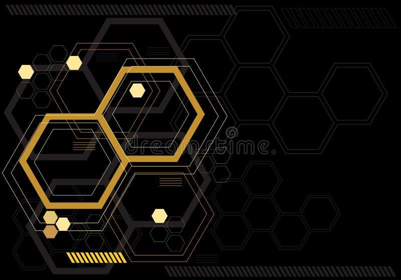 Gráfico digital del hexágono amarillo abstracto en vector futurista moderno del monitor de la tecnología del diseño negro del com ilustración del vector