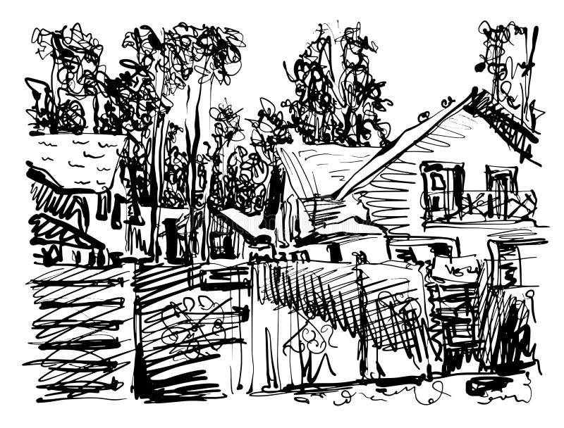 Gráfico digital preto e branco da composição da vila com hous ilustração stock