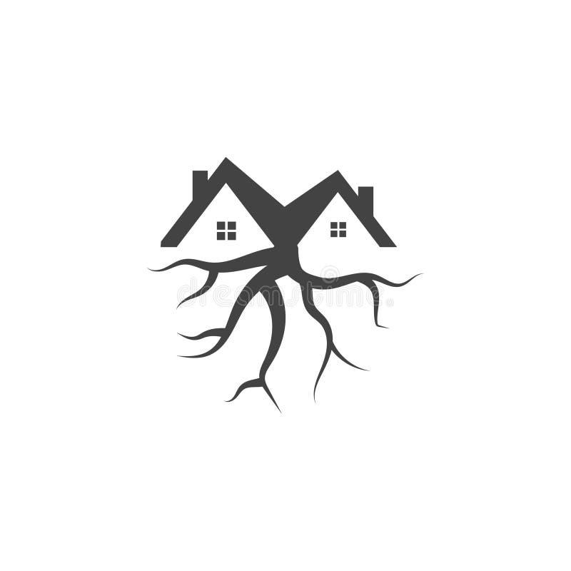Gráfico do ícone do logotipo da casa na árvore ilustração do vetor