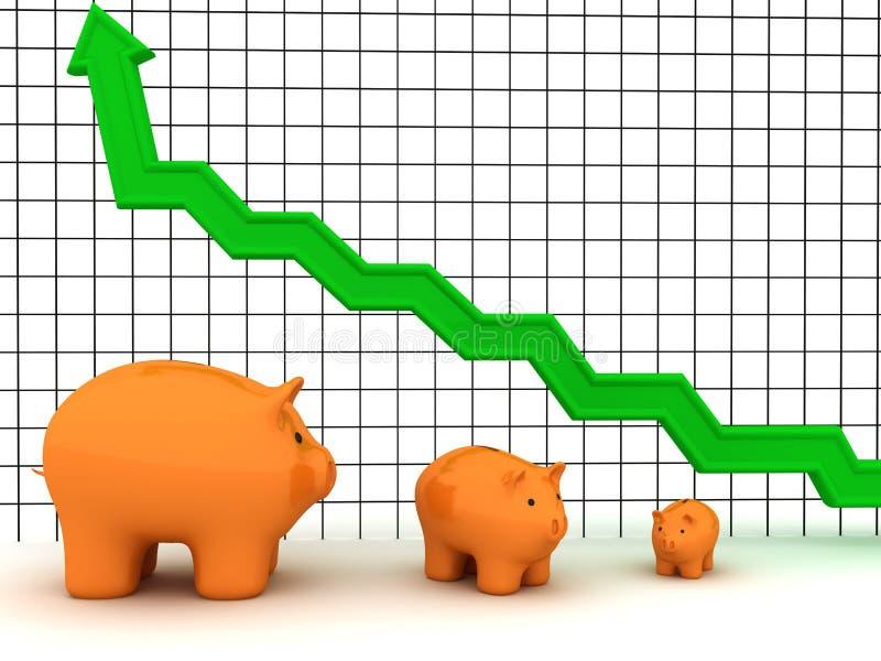 Gráfico do banco Piggy ilustração stock