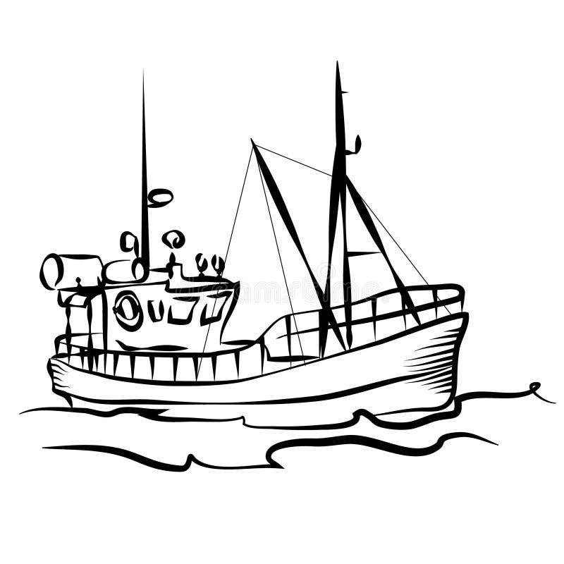 Gráfico do barco de pesca ilustração royalty free