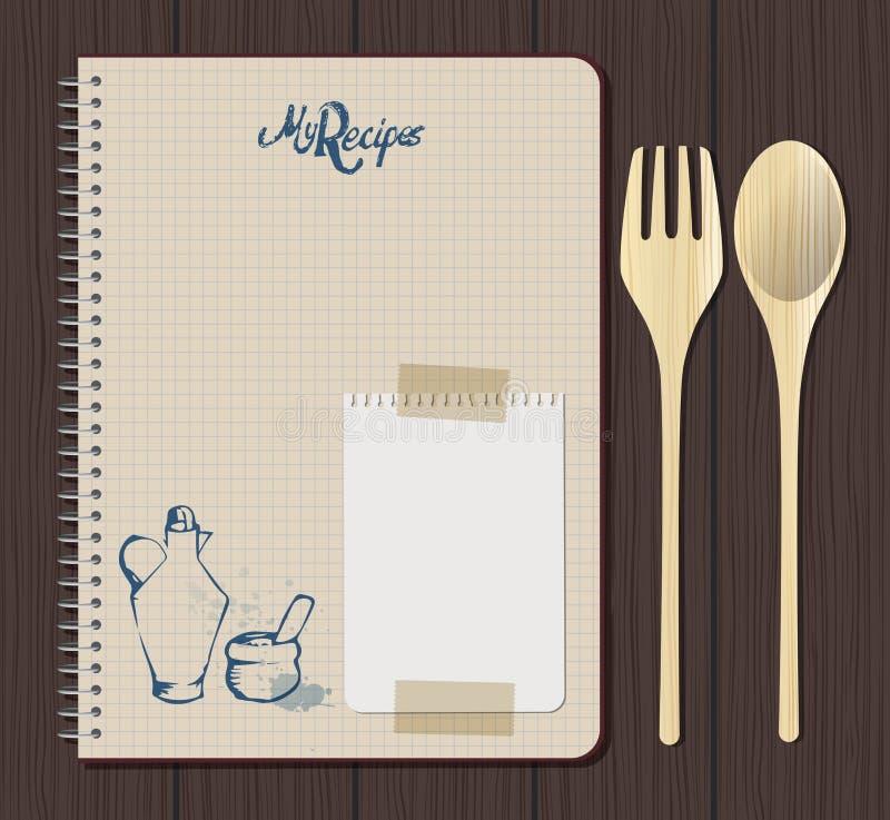 Gráfico do caderno da receita com texto, o almotolia e o almofariz tirados mão Forquilha e colher de madeira Folha branca do cade ilustração royalty free