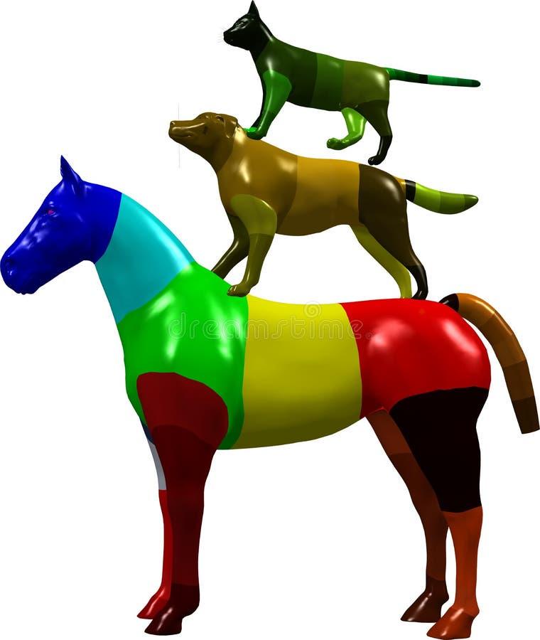 Gráfico do cavalo, do cão e do gato ilustração royalty free