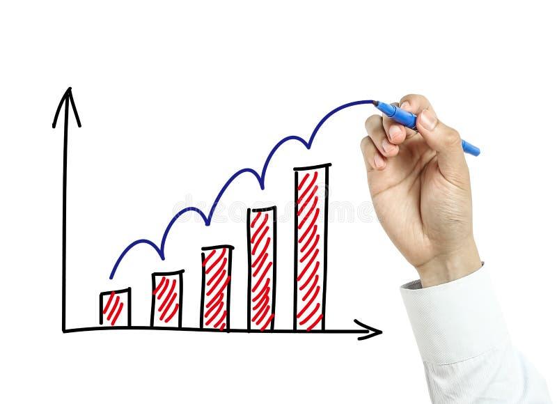 Gráfico do crescimento do desenho da mão do homem de negócios fotos de stock