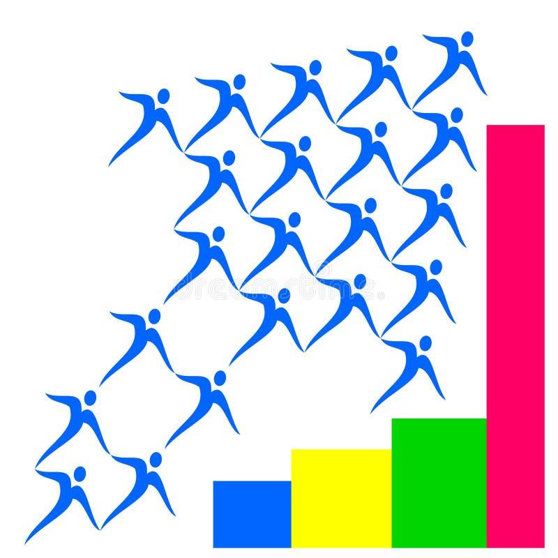 Gráfico do crescimento do logotipo do desenho do vetor ilustração royalty free
