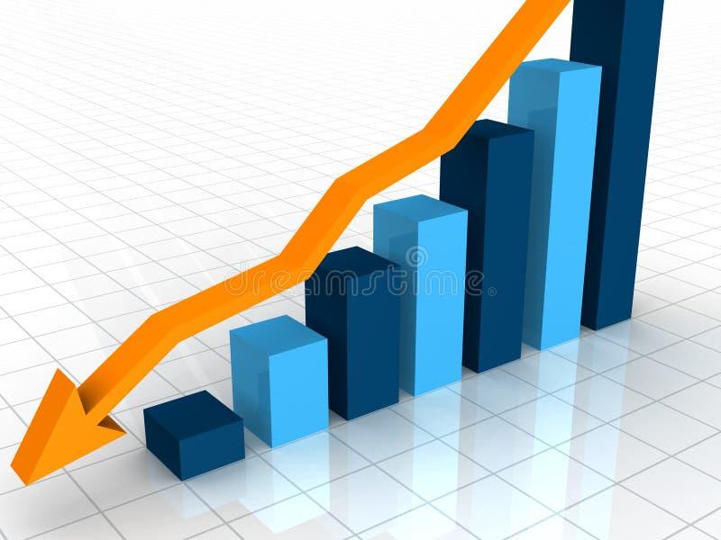 gráfico do declínio do negócio 3D ilustração stock