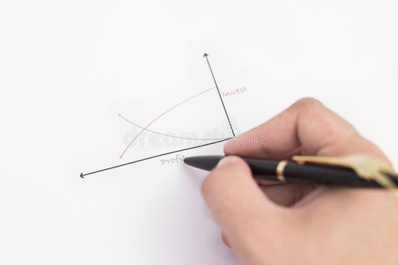 Gráfico do desenho do homem de negócio do lucro em um Livro Branco foto de stock
