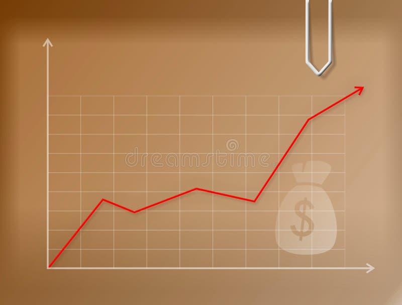 Gráfico do dinheiro do negócio no papel marrom ilustração royalty free