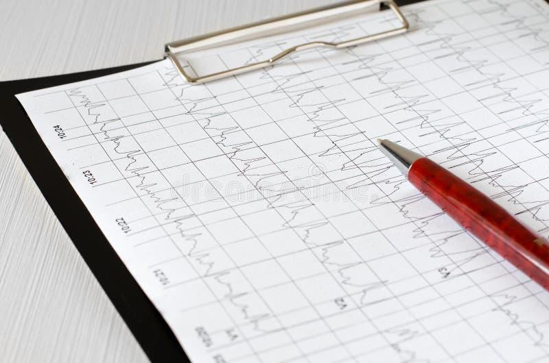 Gráfico do eletrocardiograma, análise do coração Enegre?a a prancheta fotos de stock royalty free