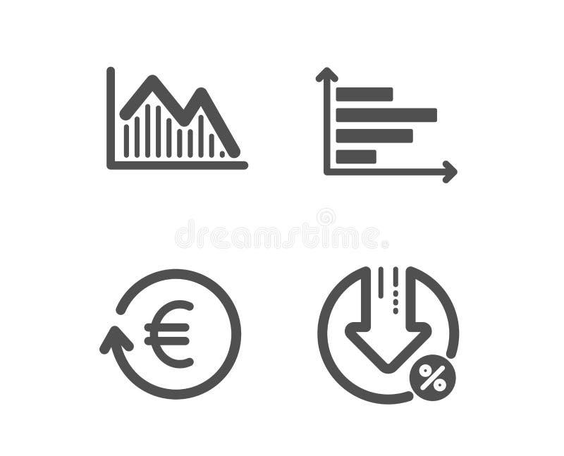 Gráfico do investimento, carta horizontal e de moeda da troca ícones Sinal de por cento do empr?stimo Vetor ilustração stock
