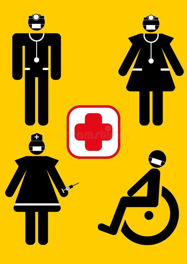 Gráfico do médico, da enfermeira e do paciente ilustração stock