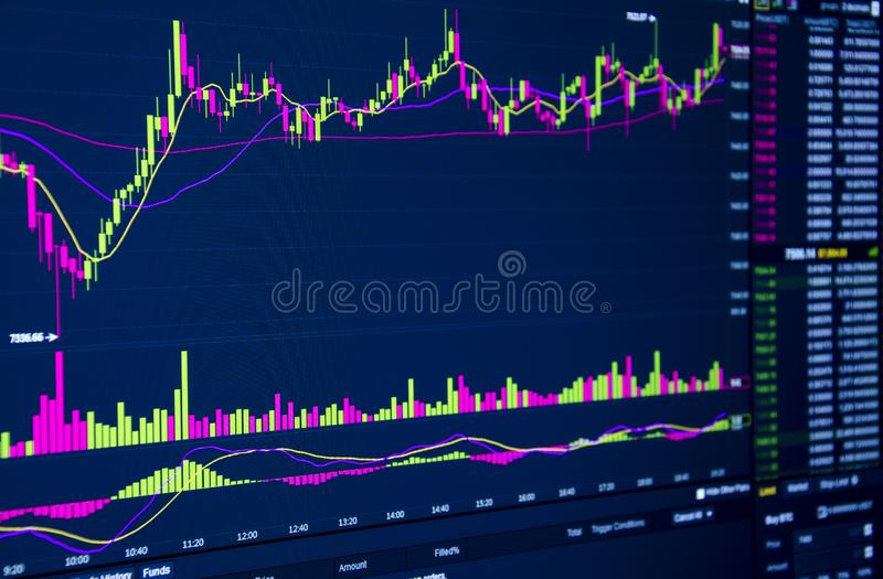 Gráfico do mercado de valores de ação e carta do castiçal para o conceito do investimento financeiro ilustração stock