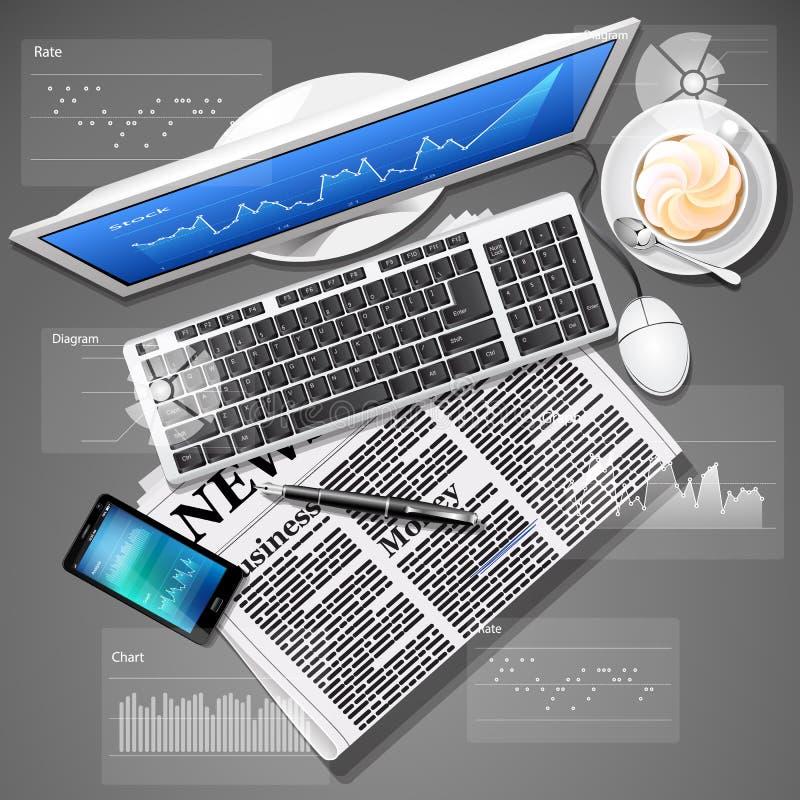 Gráfico do mercado de valores de ação no tela de computador e no telefone celular com notícia ilustração do vetor