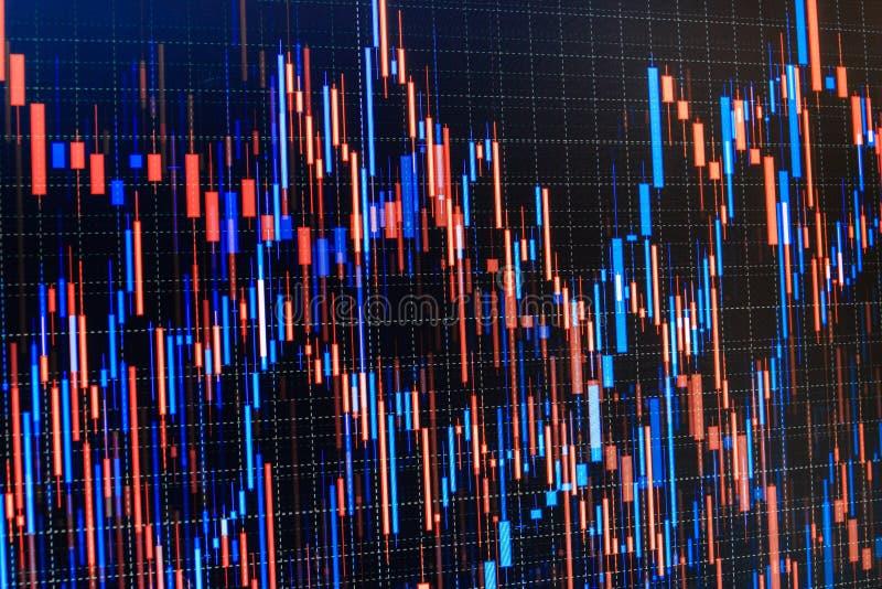 Gráfico do mercado de valores de acção Gráficos de barra, diagramas, figuras financeiras Troca no conceito do mercado Foto do clo ilustração royalty free