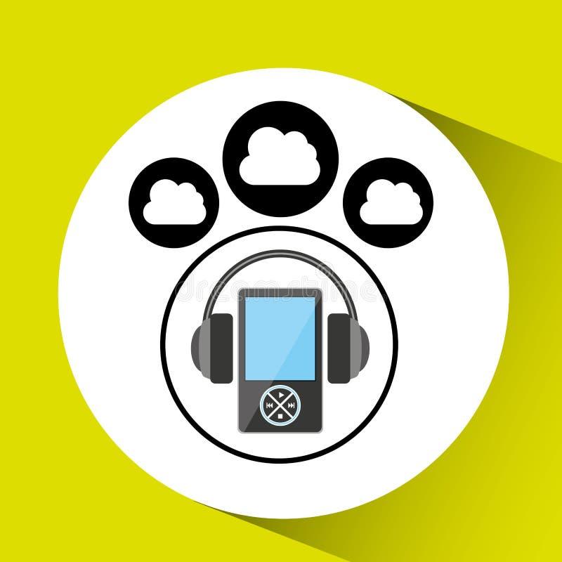 Gráfico do mp3 do fones de ouvido da conexão da nuvem da música ilustração royalty free