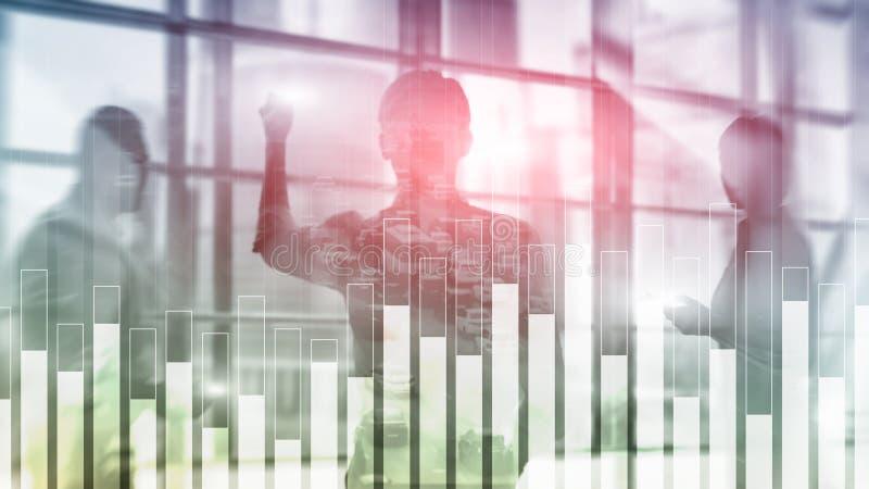 Gráfico do negócio e da finança no fundo borrado Conceito da troca, do investimento e da economia ilustração do vetor