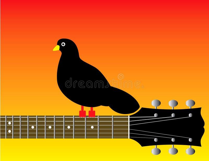 Gráfico do pássaro na garganta da guitarra ilustração do vetor
