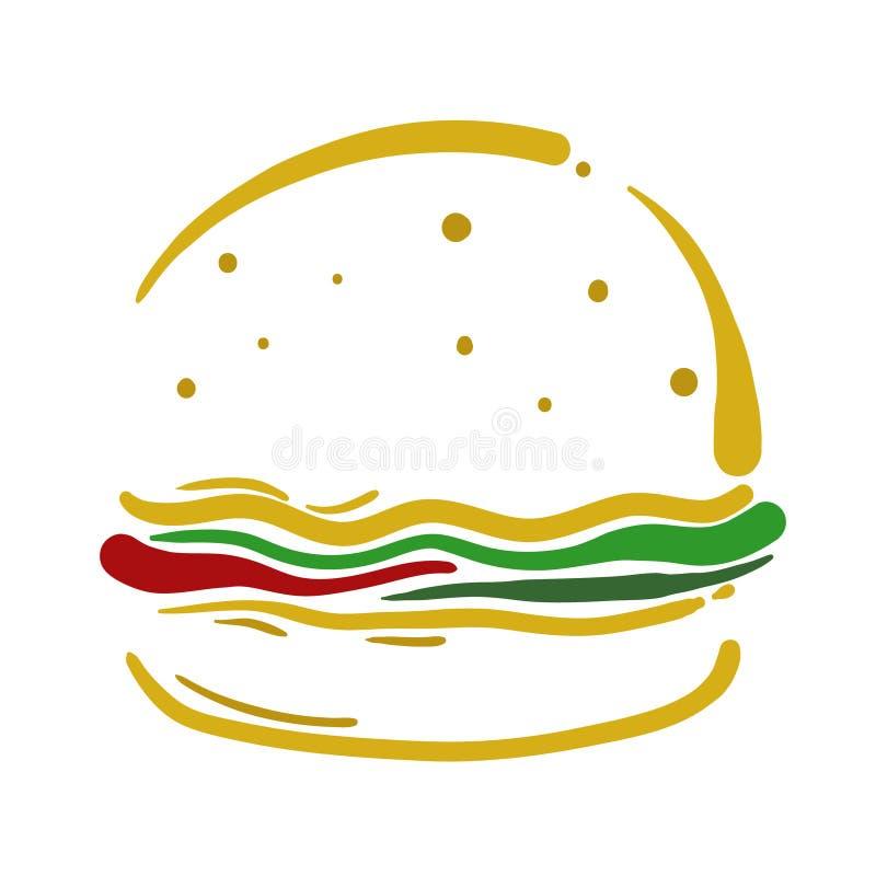 Gráfico do projeto da ilustração do vetor do Hamburger ilustração royalty free