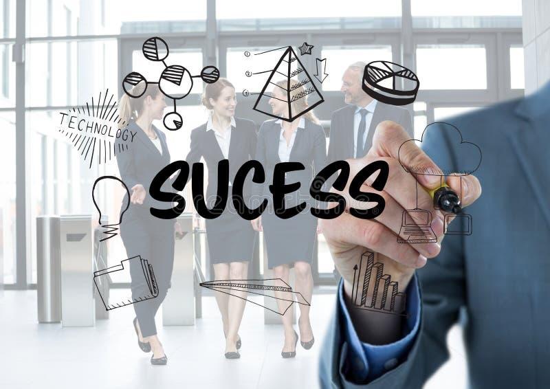 Gráfico do sucesso Homens de negócio que escrevem o ilustração stock