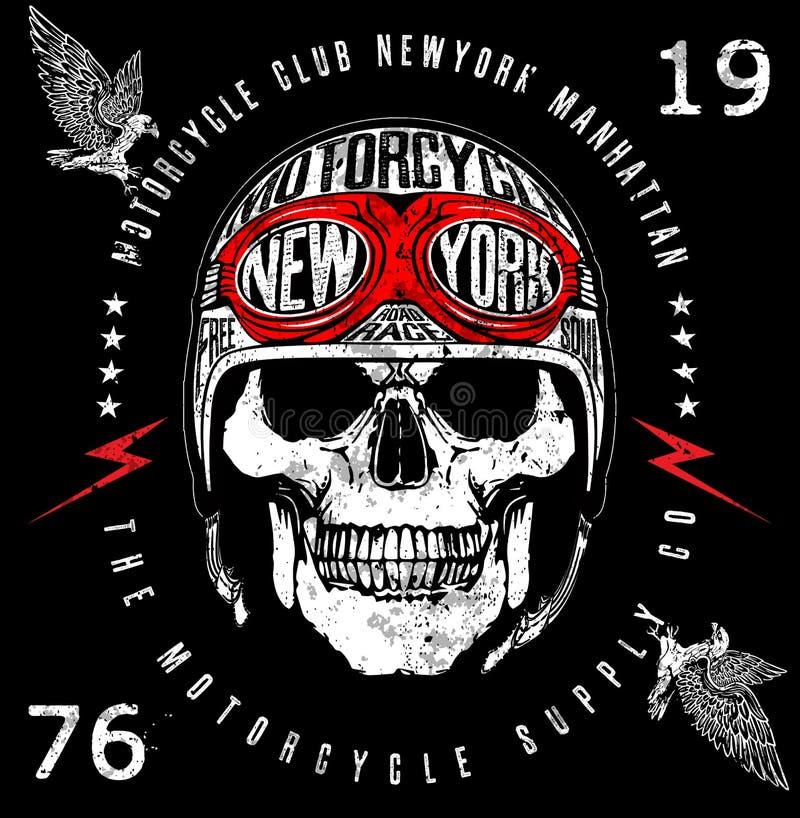 Gráfico do T do emblema do crânio do motociclista do vintage ilustração royalty free