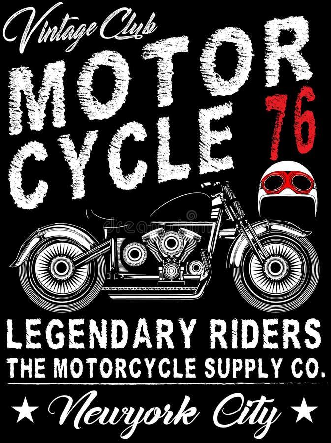 Gráfico do t-shirt da motocicleta do vintage ilustração do vetor
