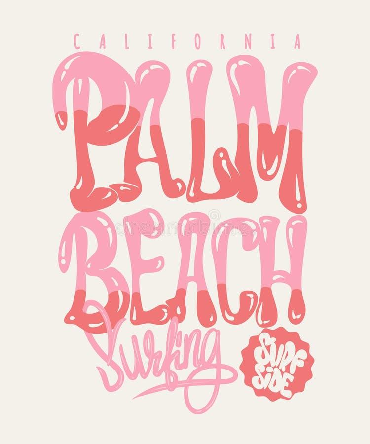 Gráfico do t-shirt de Califórnia do Palm Beach ilustração stock