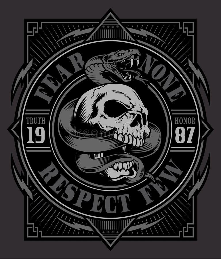 Gráfico do t-shirt do crânio da serpente ilustração do vetor