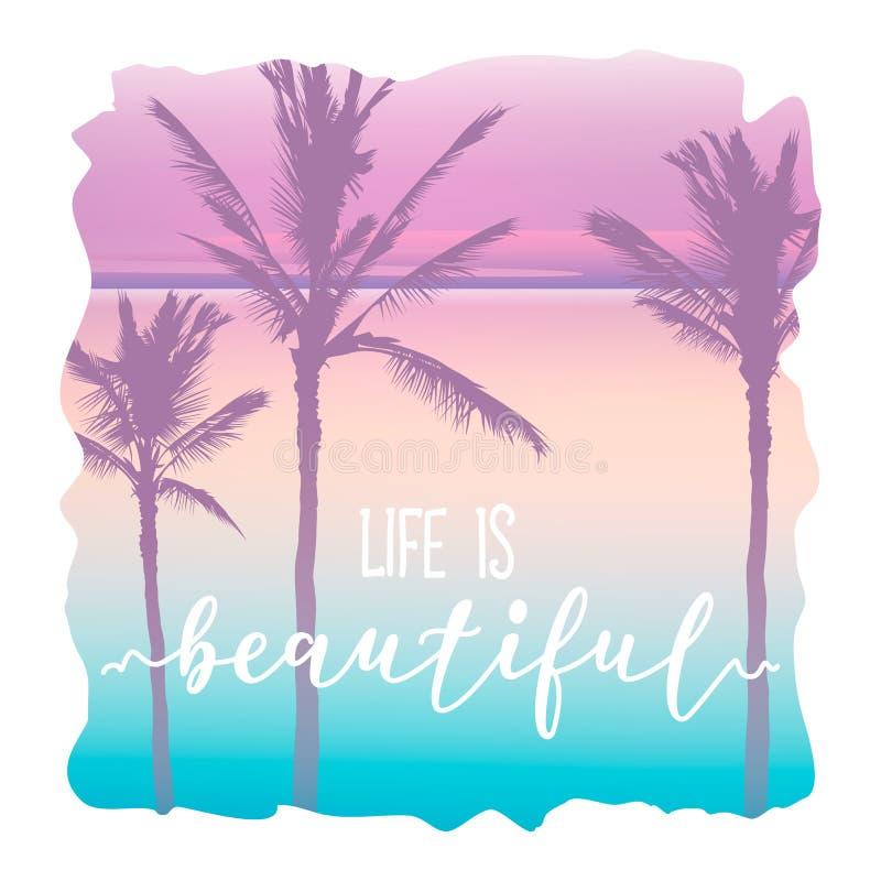 Gráfico do t-shirt do Palm Beach e rotulação bonita ilustração royalty free