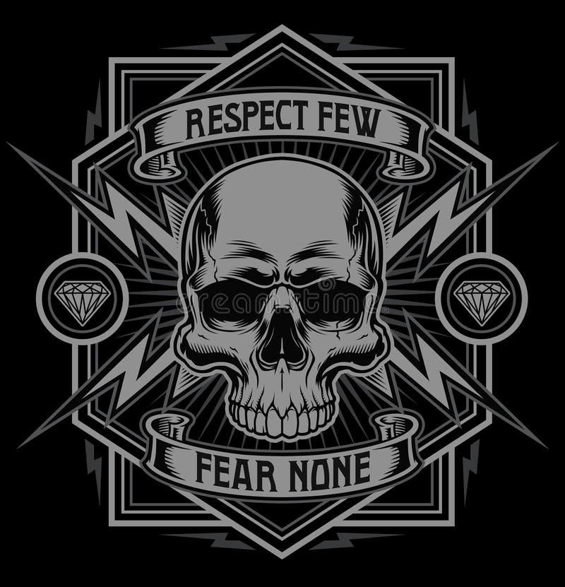 Gráfico do t-shirt do relâmpago do crânio do respeito ilustração do vetor