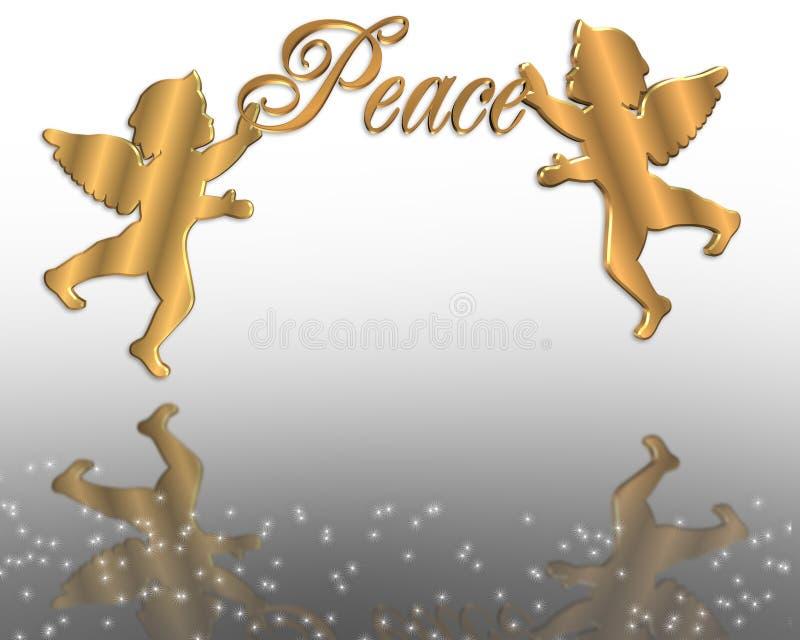Gráfico dos anjos 3D da paz do Natal ilustração do vetor