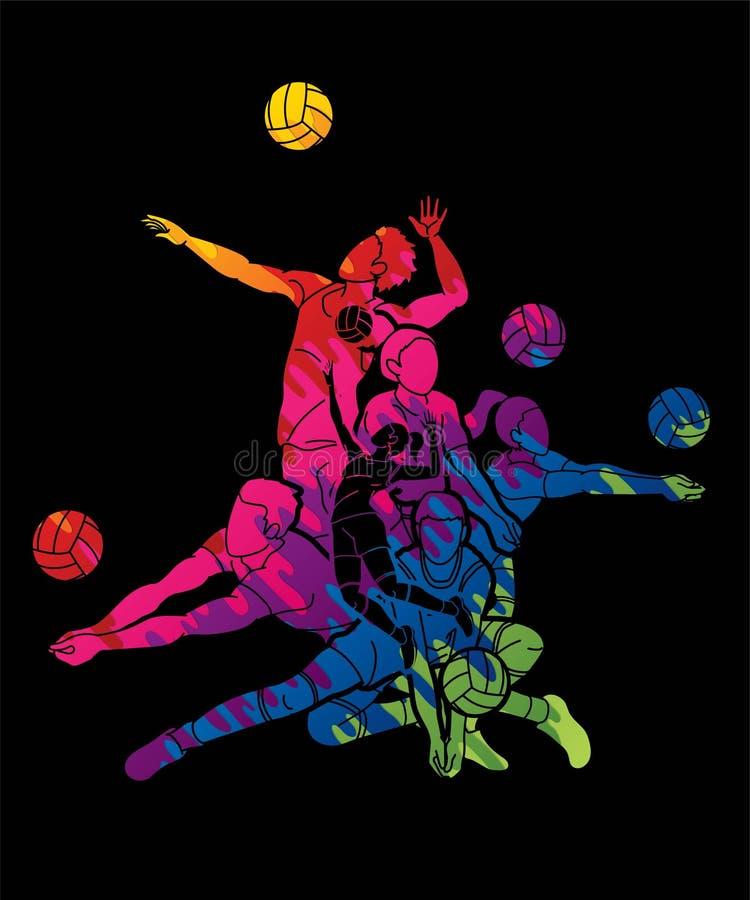Gráfico dos desenhos animados da ação do esporte do voleibol ilustração royalty free
