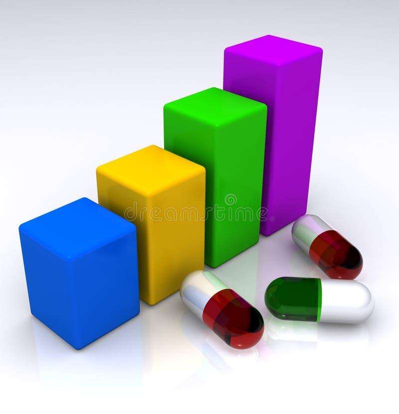Gráfico e comprimidos de barra ilustração stock