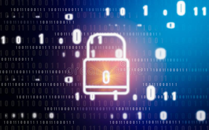Gráfico e símbolo do cadeado, conceito abstrato com proteção da tecnologia do roubo e da privacidade digitais de identidade, banc ilustração stock