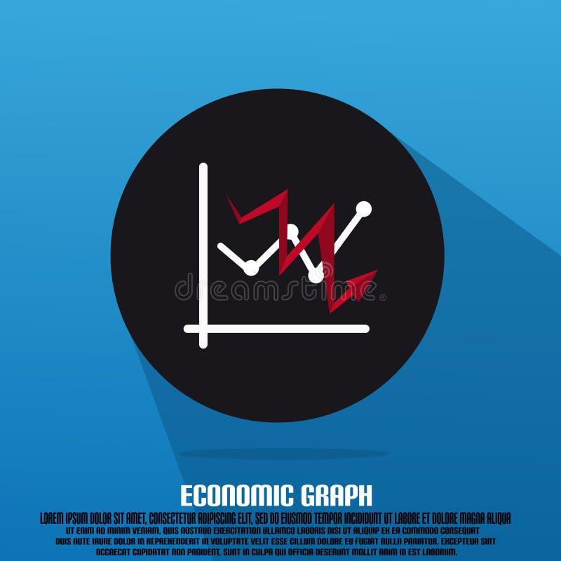 Gráfico e seta vermelha com texto e liso econômicos ilustração stock