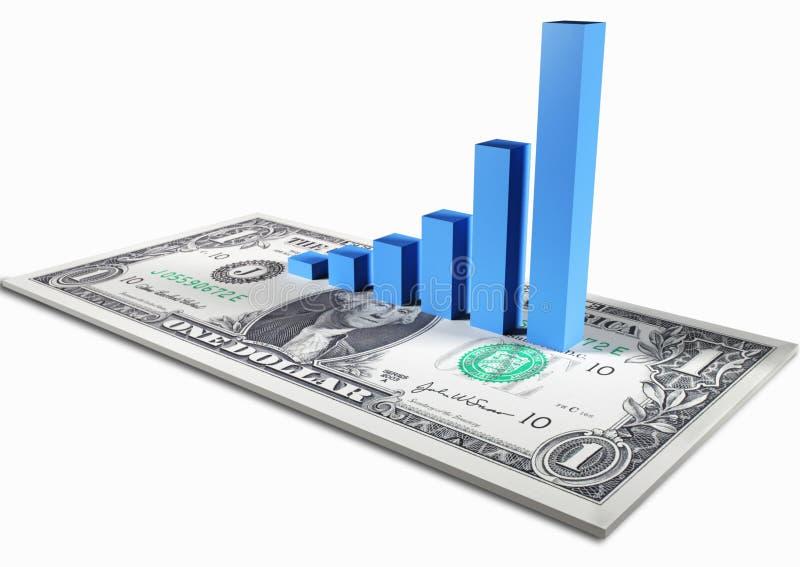 Gráfico en nota del dólar fotos de archivo