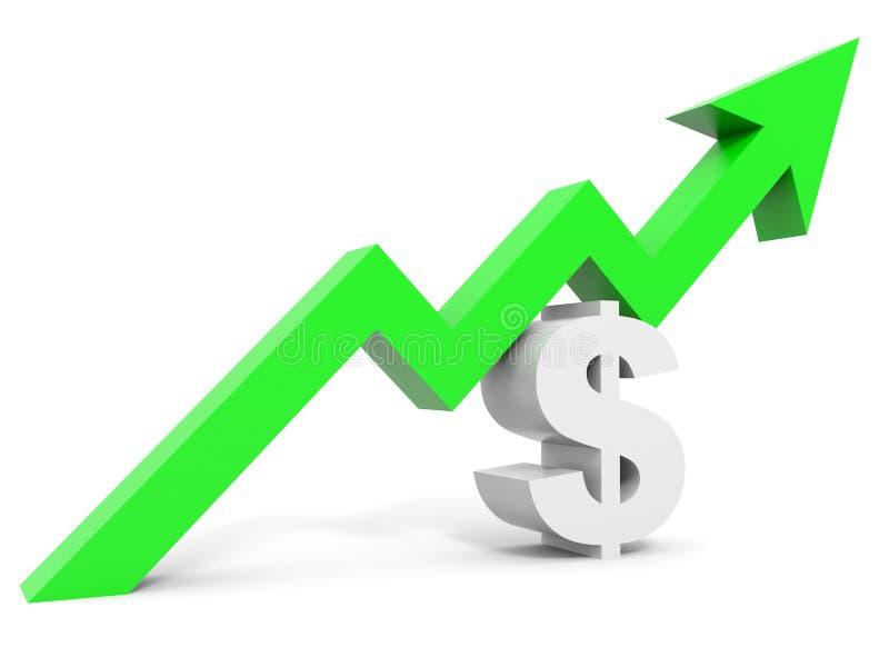 Gráfico encima de la flecha de la muestra de dólar ilustración del vector