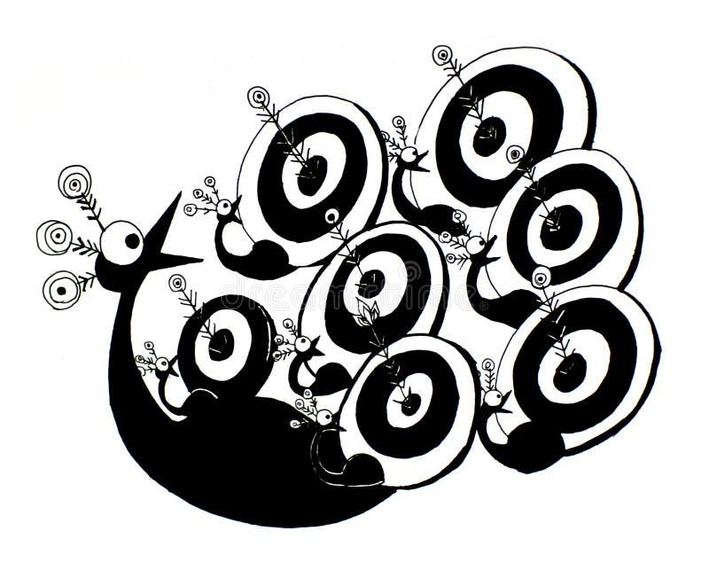 Gráfico engraçado ilustração preto e branco visada do pavão ilustração royalty free