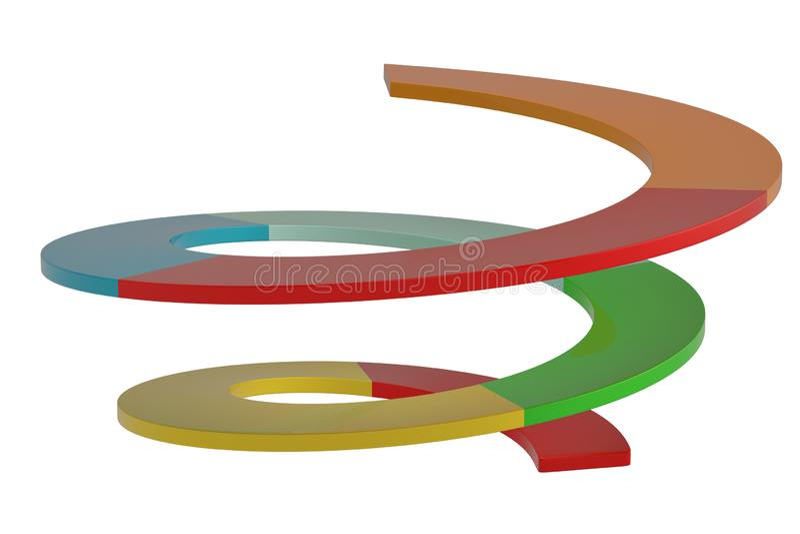 Gráfico espiral creativo aislado en el ejemplo blanco del fondo 3D ilustración del vector