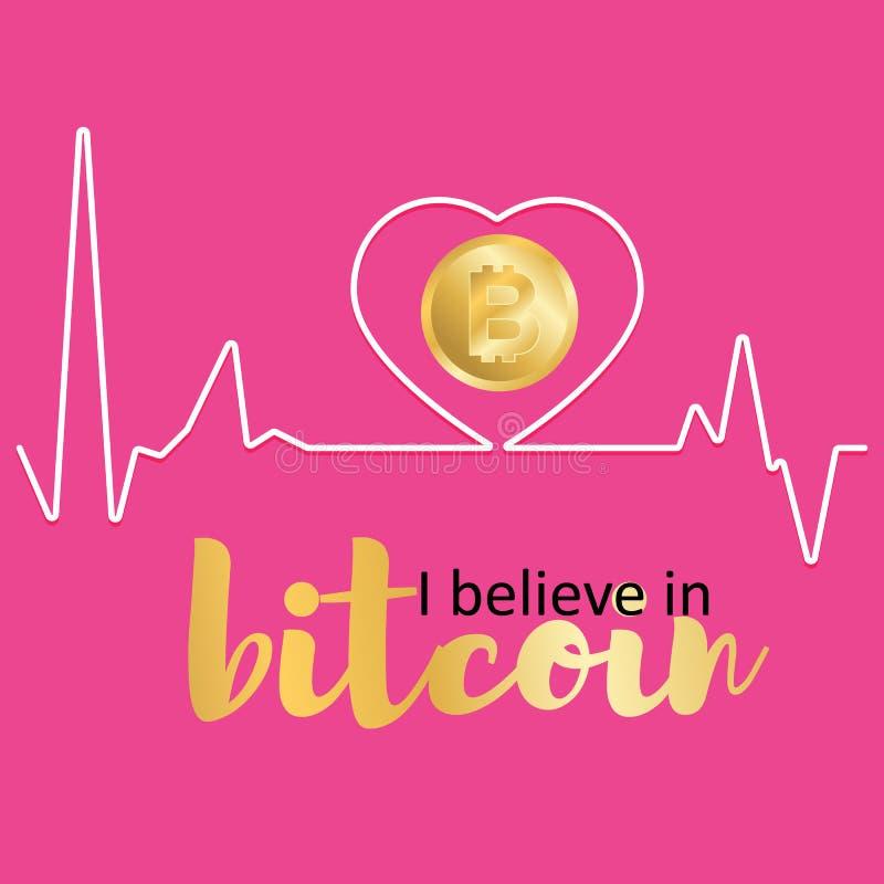 Gráfico eu acredito no bitcoin finan?as ilustração do vetor