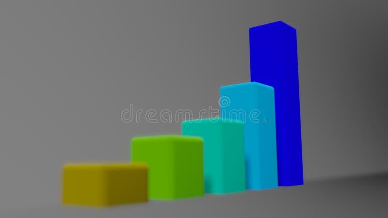 Gráfico exponencial 3D en el fondo brillante blanco stock de ilustración