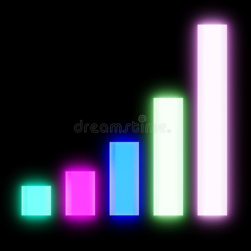 Gráfico exponencial que brilla intensamente en el contexto negro que muestra crecimiento stock de ilustración