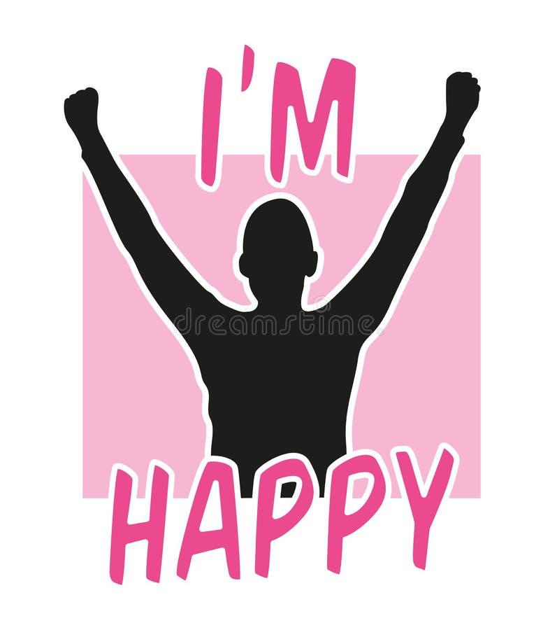Gráfico feliz del ` m del lema I con la silueta de un hombre camiseta, impresión y otra aplicaciones stock de ilustración