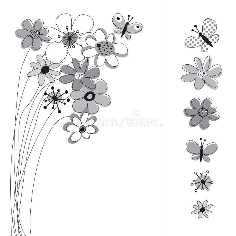 Gráfico fijado con las flores ilustración del vector