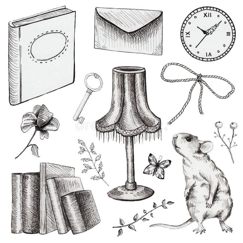 Gráfico fijado con los temas y los elementos del vintage ilustración del vector