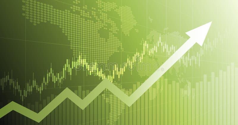 Gráfico financeiro abstrato widescreen com gráfico de seta de tendência para cima e mapa de mundo em segundo plano de cor verde ilustração stock