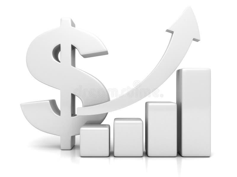 Gráfico financeiro da carta de barra do sucesso do dólar que cresce acima a seta ilustração do vetor