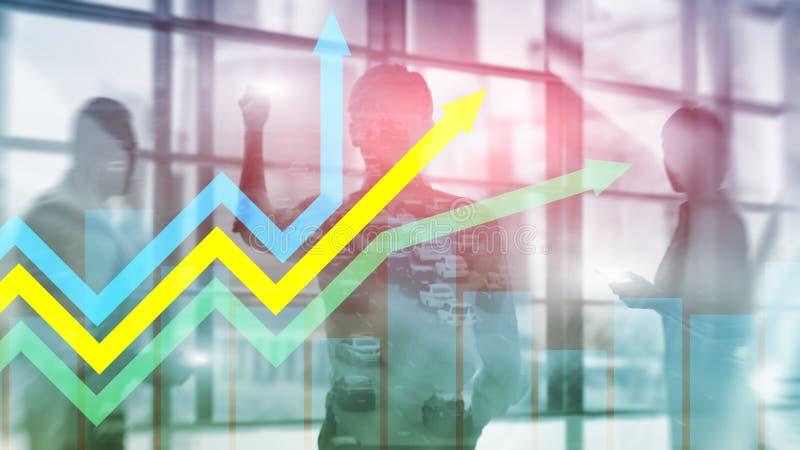 Gráfico financeiro das setas do crescimento Investimento e conceito de troca fotos de stock